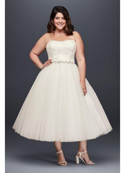 As-Is Appliqued Tea-Length Plus Size Wedding Dress | David\'s ...