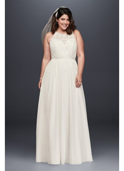 As-Is Beaded Chiffon Halter Wedding Dress - The beaded, illusion lace bodice of this chiffon