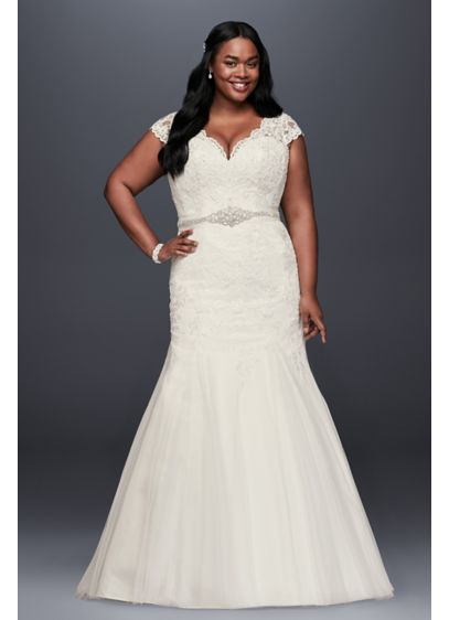 As-Is Scalloped Trumpet Plus Size Wedding Dress - Beaded lace appliques cover the cap sleeve, V-neck