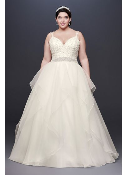 As-Is Garza Plus Size Wedding Dress - This Garza ball gown features an encrusted ballerina