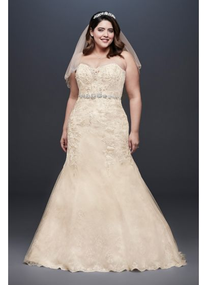 As-Is Beaded Lace Plus Size Mermaid Wedding Dress - This mermaid wedding dress is infused with intricate
