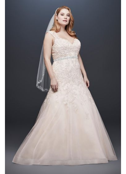 As-Is Cap Sleeve Plus Size Mermaid Wedding Dress - This cap sleeve mermaid wedding dress features an