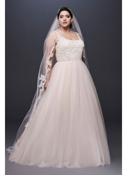 As-Is Lace and Tulle Plus Size Wedding Dress - A skirt crafted of tulle, netting, and crinkle
