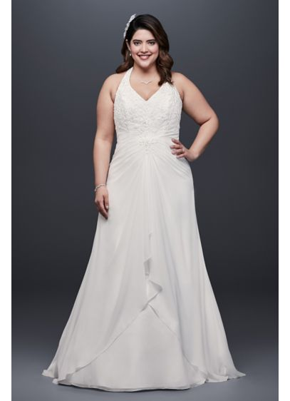 Ivory (As-Is Chiffon Halter Plus Size Wedding Dress)