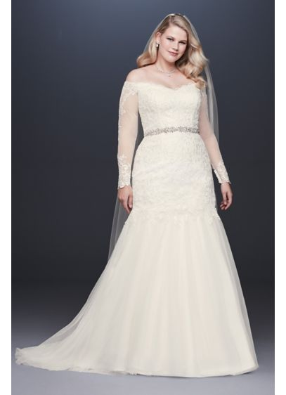 As-Is Long Sleeve Plus Size Wedding Dress - The beauty is in the details of this