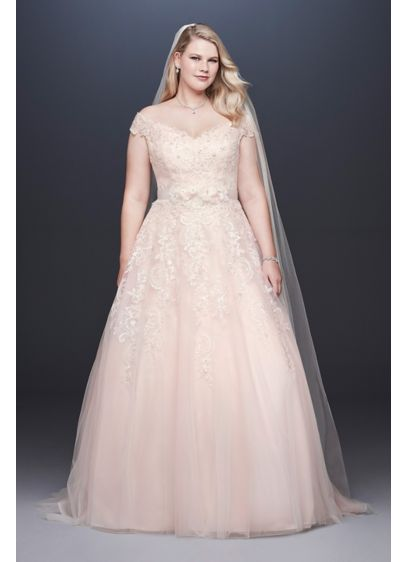 As-Is Off-the-Shoulder Plus Size Wedding Dress - A perfectly classic look for the big day,