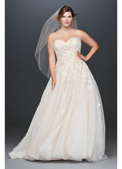 As Is Lace Applique Plus Size Wedding Dress - Beaded floral lace appliques bloom in the faintest