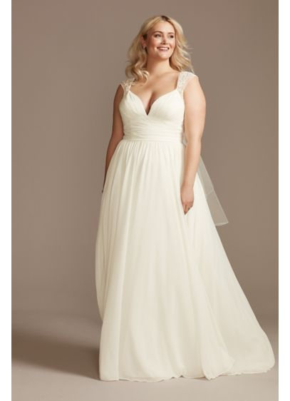 As Is Beaded Cutout Back Plus Size Wedding - This chiffon wedding dress updates a classic A-line