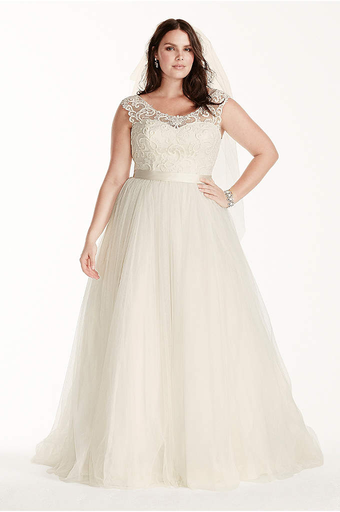 As-Is Tulle Plus Size Cap Sleeve Wedding Dress - The path to true love follows a unique