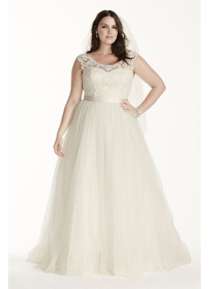 As-Is Tulle Plus Size Cap Sleeve Wedding Dress | David\'s Bridal