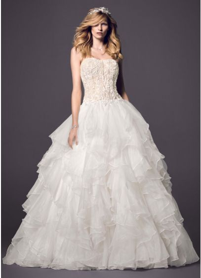 Strapless Ball Gown with Organza Ruffle Skirt | David\'s Bridal