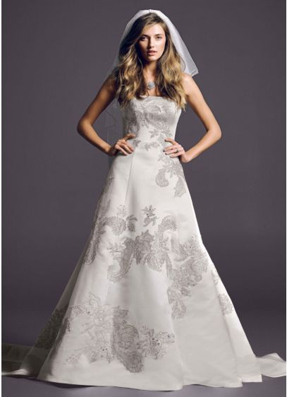 Metallic Lace Ball Gown with Peek-a-Boo Back Panel - Stunningly dramatic and hopelessly romantic, this gorgeous Oleg