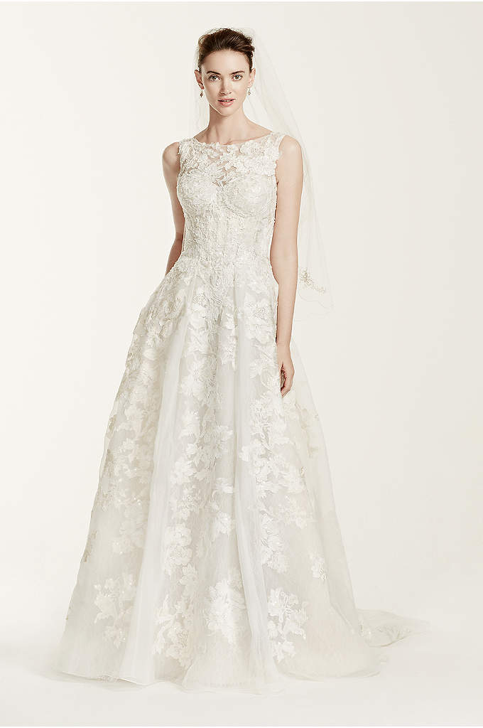 As-Is High Neck Tank Lace Wedding Dress - Oleg Cassini dressed some of the most iconic