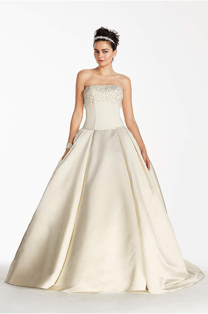 As-Is Satin Beaded Bodice Wedding Dress - Whether your nuptials are taking place in a
