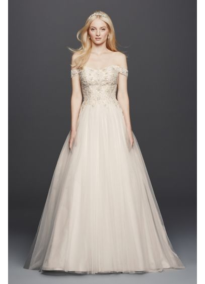 As-Is Off the Shoulder Swag Sleeved Wedding Dress - Off-the-shoulder swag sleeves add romance to this classic