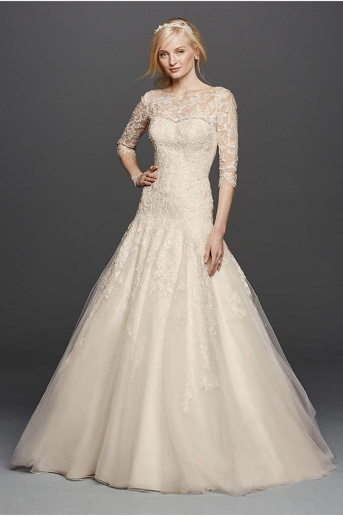As-Is Oleg Cassini Illusion Lace Wedding Dress - Having the dress of your dreams is now