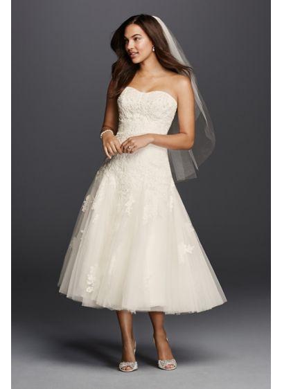 As-Is Oleg Cassini Tea Length Wedding Dress - Short wedding dresses make a statement of their