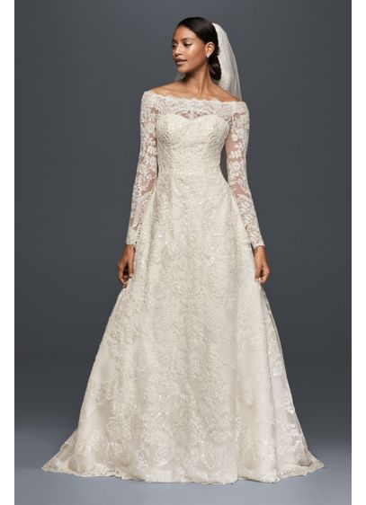 As-Is Off-The-Shoulder Lace A-Line Wedding Dress - Elegant and opulent, the lace design of this