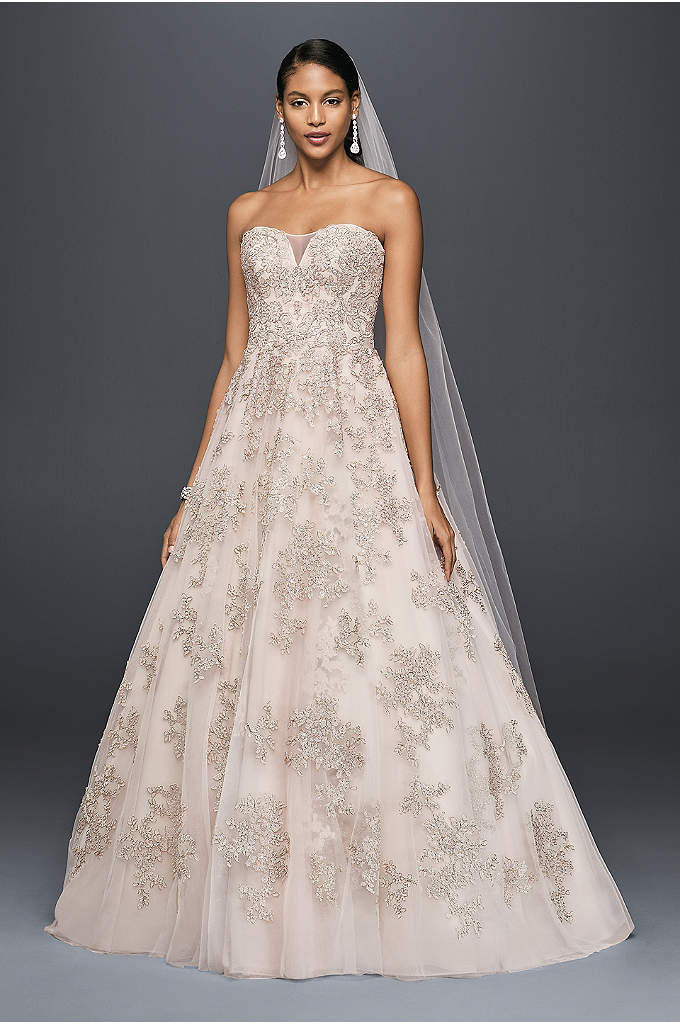 As-Is Metallic Lace Applique A-Line Wedding Dress - Metallic appliques lend this illusion-bodice A-line gown a