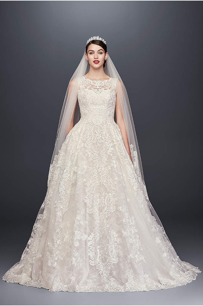 As-Is Beaded Lace Wedding Dress with Pleated Skirt - Yards of opulently beaded and appliqued tulle create