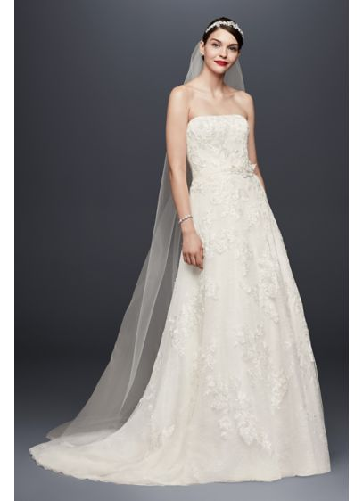 As-Is A-Line Wedding Dress with Lace Embellishment - Embroidered floral appliques, beading, and sequin embellishments grace