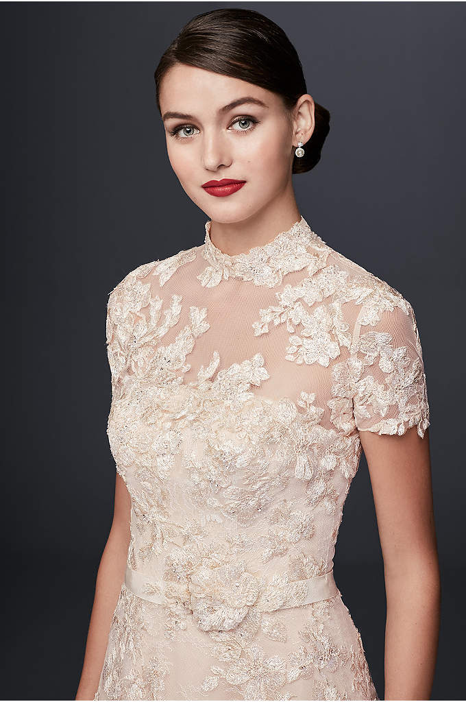As-Is Lace Appliqued Wedding Dress and Topper - This embellished strapless A-line wedding gown from Oleg