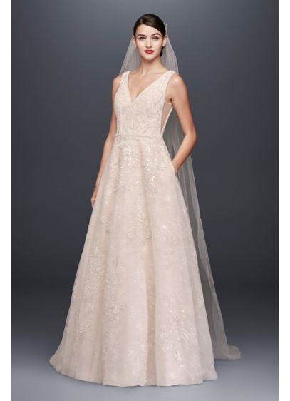 As-Is Appliqued Lace Overlay A-Line Wedding Dress - Crafted of tulle over lace for added dimension,
