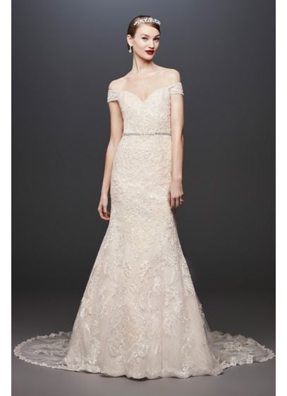 As-Is Beaded Lace Off-the-Shoulder Wedding Dress - Six different types of hand-crafted lace appliques and