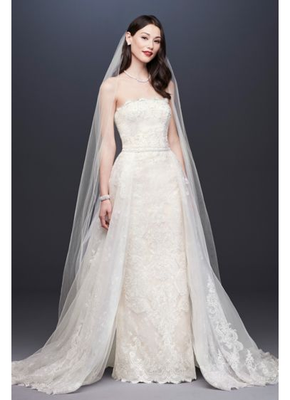 Ivory (As-Is Lace Sheath Wedding Dress with Overskirt)