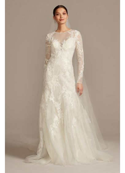 As Is Stretch Illusion Beaded Floral Wedding Dress - An opulent wedding dress that feels comfortable? Believe