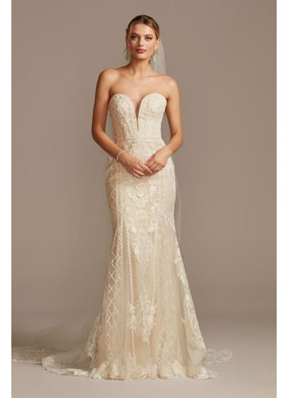 As Is Beaded Scroll and Lace Mermaid Wedding - This curve-hugging, layered lace wedding dress is beautifully