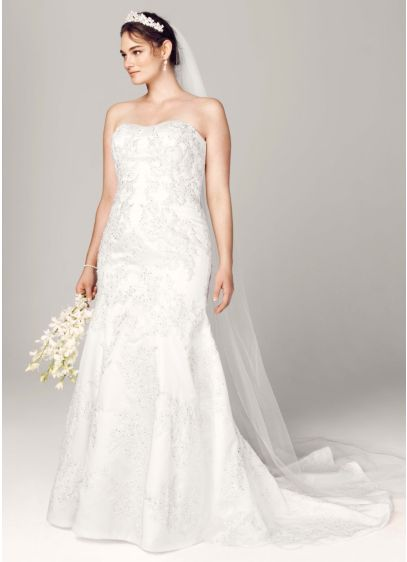 As-Is Lace Satin Trumpet Wedding Dress - Beautifully designed, this romantic wedding dress features a