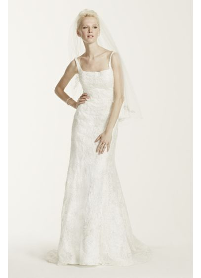 As-Is Tank Lace Wedding Dress with Beading - Beautifully designed with a modern neckline, this exquisite