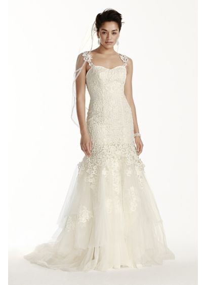 Crinkle Chiffon Plus Size Gown With Lace Davids Bridal