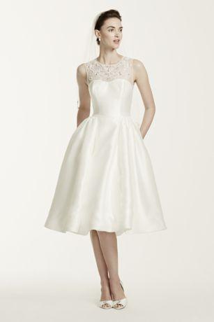 As-Is Oleg Cassini Mikado Tea Length Wedding Dress | David ...
