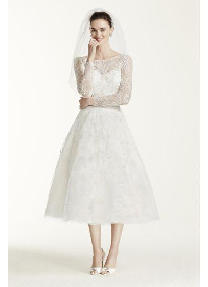 Tea Length Lace Tulle Wedding Dress Ai14040298 Short A Line Long Sleeves