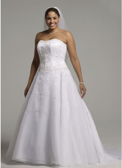 Satin Bodice with Organza Skirt and Beading - Strapless satin bodice with beaded embroidery, organza ball