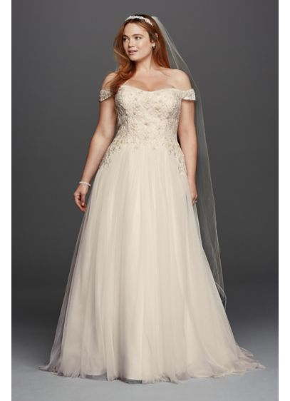 As-Is Tulle Plus Size Ball Gown Wedding Dress - Off-the-shoulder swag sleeves add romance to this classic