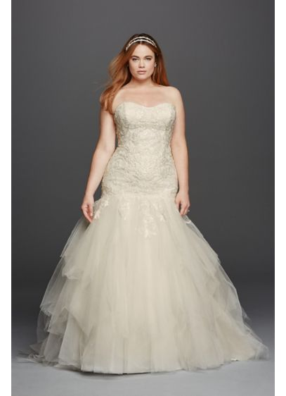 As-Is Strapless Tulle Plus Size Wedding Dress - Love at first sight is what you will