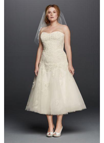 As-Is Tea Length Plus SizeWedding Dress - Short wedding dresses make a statement of their