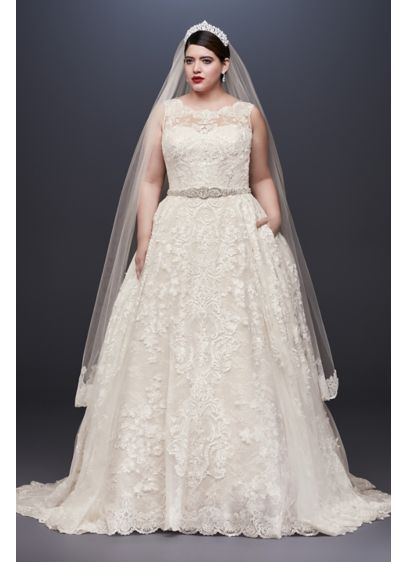 As - Is Lace Plus Size Wedding Dress - Yards of opulently beaded and appliqued tulle create