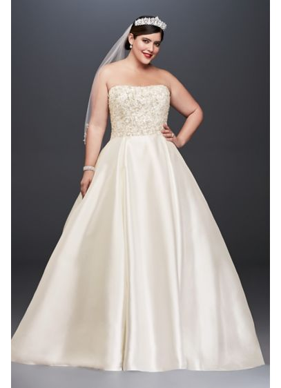 As-Is Crystal Mikado Plus Size Wedding Dress - The height of wedding day opulence, this plus-size