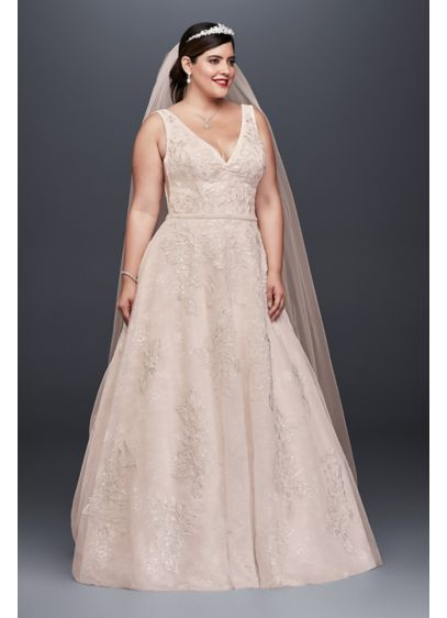 As-Is Appliqued Tulle-Over-Lace Wedding Dress - Crafted of tulle over lace for added dimension,