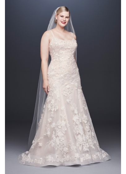 As-Is Ballerina Bodice Plus Size Wedding Dress - Crafted of three kinds of metallic lace appliques,