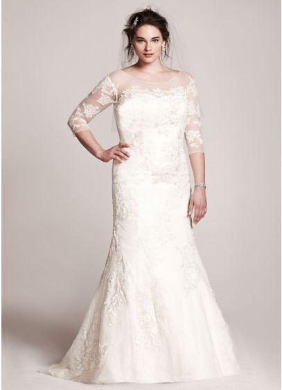 d1a54cf937ff Oleg Cassini 3/4 Sleeve Lace Trumpet Wedding Dress. AI14330015. Long  Mermaid/ Trumpet Wedding Dress -