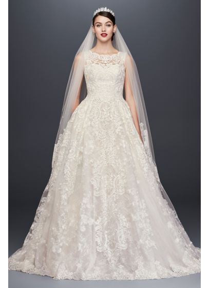 As-Is Lace Petite Wedding Dress with Pleated Skirt - Yards of opulently beaded and appliqued tulle create