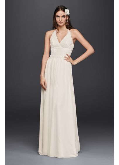 As-Is Lace Halter Wedding Dress - Delicate Venice lace trims the deep V-neckline on