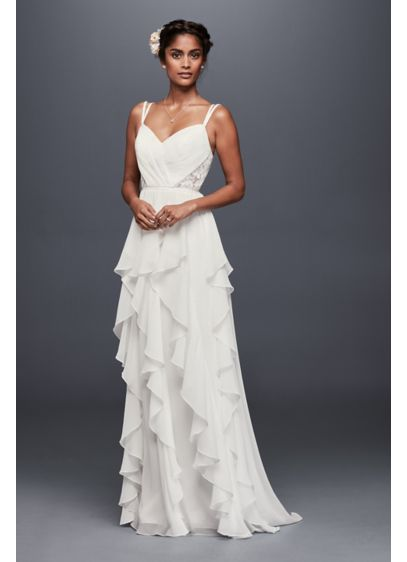 As-Is Ruffled Chiffon and Lace Wedding Dress - Crinkled chiffon ruffles dreamily cascade from the sweetheart
