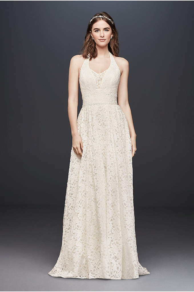 As-Is Plunging Lace Halter Ball Gown Wedding Dress - This plunging allover lace wedding dress is the