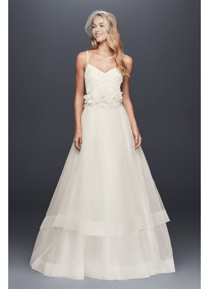 As-Is 3D Floral Bodice Ball Gown Wedding Dress - A free-spirited take on the traditional ball gown
